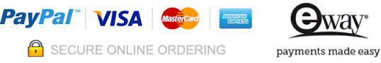 Secure on line ordering Paypal Eway American Express Master Card Visa