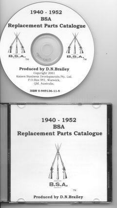 BSA 1940 - 1952 Replacement Parts Catalogue On CD