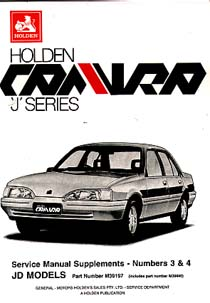 Holden Camira JD 1985-87 Repair Manual A Holden Factory Publicat