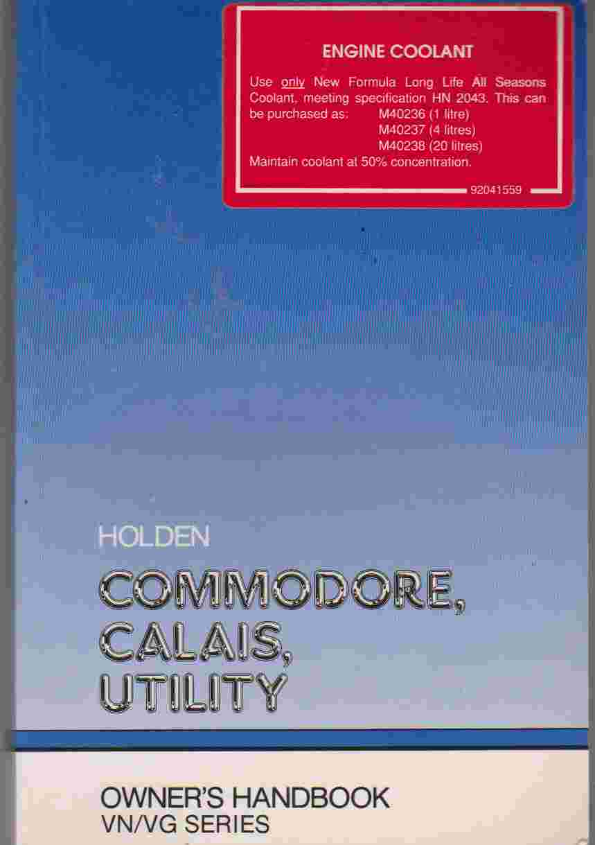 Holden VN/VG Series Owners Hand Book 92039872