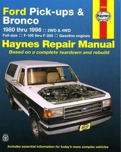 Ford Pick-ups and Bronco (Petrol) 1980 - 1996 Haynes Owners Serv
