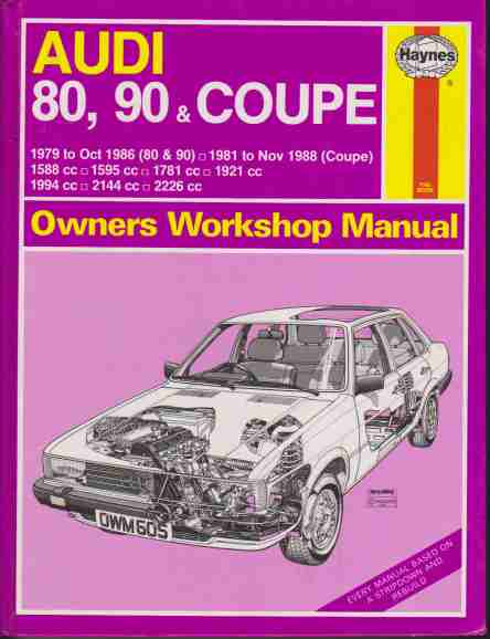 Audi 80, 90 and Coupe 1979 to November 1988 Haynes Owners Worksh