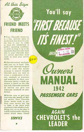 Chevrolet `1942 Passenger Cars Owners Manuals: Reprint