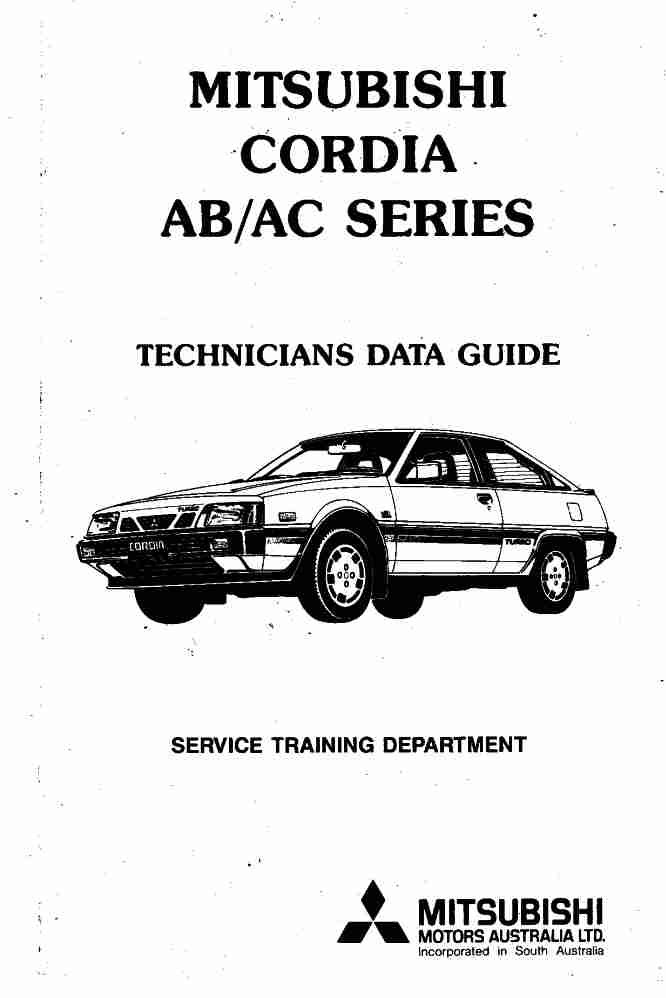 Mitsubishi Cordia AB/AC Technicians Data Guide