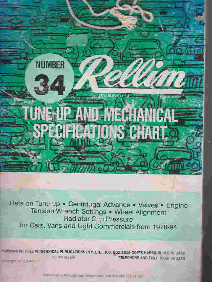 Rellim No 34 Tune Up And Mechanical Specification Chart