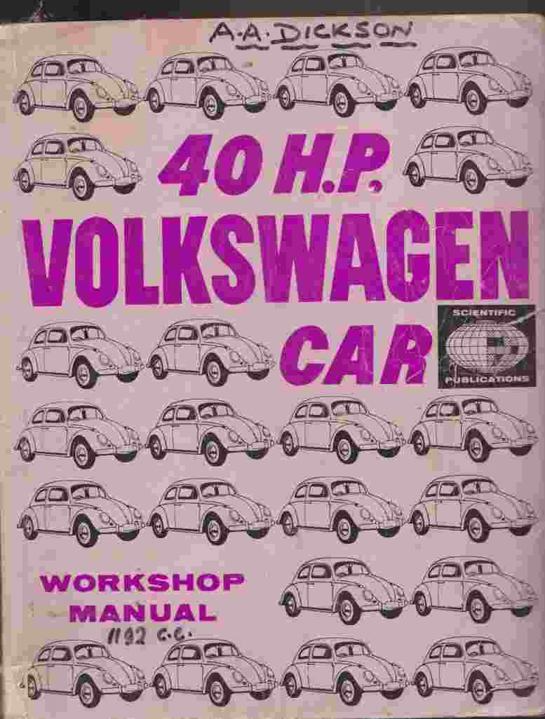 Volkswagen Car 40 HP Engine - Workshop Manual Commencing Engine